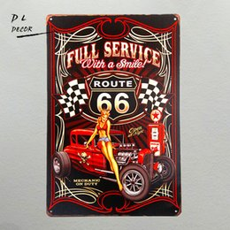 Wholesale Hot Girls Posters - DL-Full Service Hot Rod Route 66 Metal Sign pin up girls with smile vintage Garage wall art poster home decoration accessories