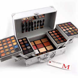 Wholesale makeup suitcases - High Quality Miss Rose makeup set Professional Cosmetic Case Makeup Kit Eye shadow Blush Mirror Concealer Case Suitcases