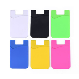 Wholesale Blackberry Credit - Ultra-slim Self Adhesive Credit Card Wallet Card Set Card Holder for Smartphones for iPhone 7 Colorful Silicon