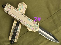 Wholesale Microtech Abalone - scarab gold Abalone shell 4 models Hunting Folding Pocket Knife Survival Knife Xmas gift for men copies 1pcs freeshipping