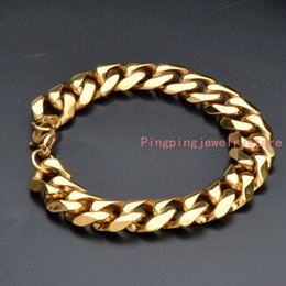"Wholesale Yellow Bangle - 8.66""*14MM 44g High Quality Fashion 316L Stainless Steel Yellow Gold Curb Cuban Chain Men's Boy's Bracelet Bangle Cool Jewelry High Quality"