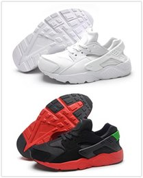 Wholesale Trainers New Color - 2017 New Kids Air Huarache Sneakers Shoes For Boys Grils Authentic All White Children's Trainers Huaraches Sport Running Shoes Size 28-35