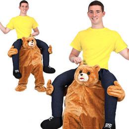 Wholesale Teddy Bear Mascot Costumes - Teddy Bear Stuffed Ride On Me Stag Mascot Carry Piggy Back Fancy Dress Costume