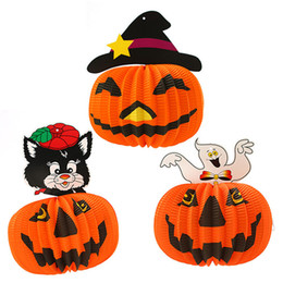 Luci all'aperto di zucca di halloween online-Hot Halloween Decoration Paper Pumpkin Light Hanging Lanterna di Zucca Puntelli Outdoor Party Haunted house hanging decorazioni IB463