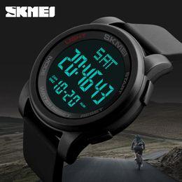 Wholesale Skmei Digital Watches - Brand SKMEI men's sports watch double countdown time 50 meters waterproof LED digital watch Relogio masculino black