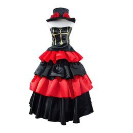 Wholesale Perona One Piece Costume - One Piece Cosplay Ghost Princess After Two Years Anime Perona Cosplay Costume Red Ver Gothic Dress Ball Gown Halloween Party Dress