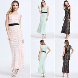 Wholesale Wholesale Net Evening Dresses - Fashion v neck women's Dresses Net Yarn Lace maxi dresses sleeveless sexy bodycon maxi evening dresses