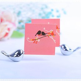 Wholesale Love Birds Table Card - Alloy Love Bird Place Card Holder Wedding Decoration Centerpieces Decoracao Casamento Table Number Guest Name for Event Party ZA1212