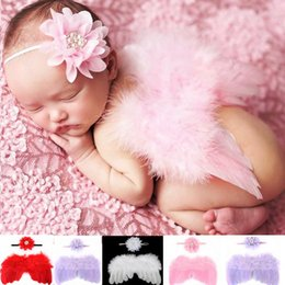 Wholesale Pink Pearl Headbands - 4 Colors Baby Angel Wing + Chiffon rhinestones pearls flower headband Photography Props Set newborn Pretty Angel Fairy Pink feathers Costume
