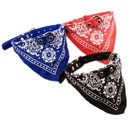 Wholesale Leather Bandana Dog Collar - Leather Dog Collar Adjustable Pet Dog Puppy Cat Neck Scarf Printed Bandana Collar Neckerchief Dog Collars
