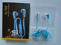 Wholesale Sms Audio Bluetooth - 50 cents noodle flat Soul SL700 Headphone SMS Audio Headset With Mic & Retail Box for iphone 5 6 samsung s7 s8 huawei xiaomi