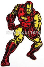Wholesale Wholesale Superhero Patches - Retro Iron Man Power Armor Suit Classic Marvel Comics Superhero Crest Badge TV movie Embroidered sew on iron on patch applique
