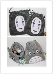 Wholesale Drawstring Purses - Totoro cartoon Plush Drawstring bag Spirited Away No Face man Totoro Pouch Cute cartoon purse bag Christmas Gift Bag