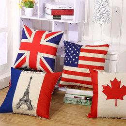 Wholesale Plains Furniture - New national flag pillow case Linen cotton square pillowcase Individuality furniture & home decorative 45*45cm pillow cover