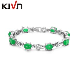 Wholesale Womens Stone Bracelets - KIVN Fashion Jewelry Classic Green Stone Womens Girls Wedding Bridal Link Bracelets Mothers Christmas Birthday Gifts