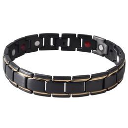 Wholesale Magnetic Jewelry Bracelet Health - 2018 New Men's Black Health Bracelets & Bangles Magnetic Power Stainless Steel Charm Bracelet Jewelry for Man