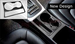 Wholesale Audi S Line Sticker - New Design Carbon Fiber Cup Holder Decorative Frame Cover Trim S  RS  S line Emblem Sticker For Audi A4 B8 09-15 A5 Car Styling