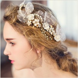Wholesale Crystal Bow Pearl Charm - Charm Floral Bridal Hair Clips Beaded Pearl Wedding Headpiece Romantic Bridal Hair Comb Side Tiara 2016 Wedding Hair Accessories