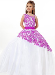 Wholesale Glaring Color Dress - Free shipping!!! 2017 Glaring New Fashion Girl one shoulder Pageant Dress Halter Kids Ball Gowns Dresses