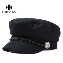 Wholesale Wool Beret Black - 2016 Winter Wool Felt Military Beret Caps and Hats Black Berets Hats for Women and Men Warm Painter Flat Cap