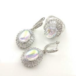Wholesale ruby grades - Women's 925 new jewelry sets dove pearl color AAA grade Zircon Earrings Ring Size 789 jewelry box