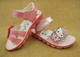 Wholesale Wholesale Girls Sandals Diamonds - 2016 Carton Kitty children's shoes Girls Sandals lovely little and big girls shoes with diamond Size 21-36 1 lot = 5 or 6 pairs