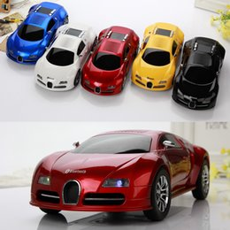 Wholesale Computer Car Radio - Wholesale- Sports Car Design Wireless Mini Bluetooth Speaker Handsfree USB TF Stereo Sound Box FM Bugatti Car Shape Speakers Music Player