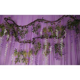 Wholesale Deco Cake - Garland Flowers Artificial Wisteria Withered Vine Wedding Decoration Out Door Wedding Ceremony Forest Wedding Home Deco