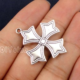 Wholesale Side Cross Silver Connector - 25pcs-Antique Tibetan Silver Cross Charms Pendant 2 Sided 34x31mm Best Gifts For Lovely Connector DIY Jewelry Making