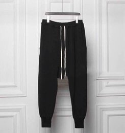 Wholesale Taper Pants Man - Wholesale-pantalons homme owens sweat hip hop tapered low drop crotch sweatpants black joggers harlem jumpsuit harem pants men