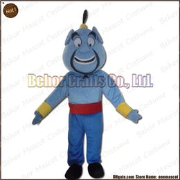 Wholesale Genie Aladdin Costumes - Aladdin lamp God mascot costume EMS free shipping, cheap high quality carnival party Fancy plush walking Genie mascot cartoon adult size.