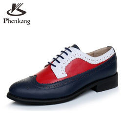 Wholesale Grey Dresses For Women - Wholesale- Women Genuine leather shoes round toe handmade US 11 vintage flats 2017 oxford shoes for women blue grey black summer shoes