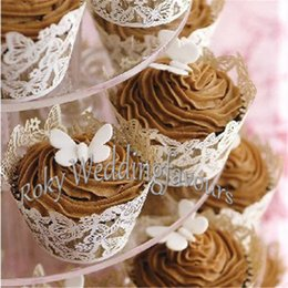 Wholesale Wholesale For Cupcake Packaging - Free Shipping 50PCS Butterfly Cupcake Wrapper Party Supplies Cupcake Shower Package for Birthday Events Sweet Table Setting Supplies