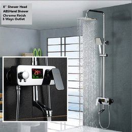 Wholesale Electric Water Ceramic - Digital Display Shower Faucet Water Powered Digital Display Shower Set Wall Mounted 8 Inch Rain Shower Head Tub Mixer Faucet