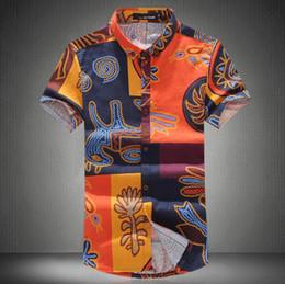 Canada En gros-2016 haute qualité été Mens mode Floral Shirts chemises hawaïennes hommes chemise à manches courtes lin robe Casual Shirt pour hommes en magasin supplier wholesale dress store Offre