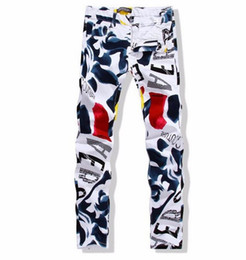 Wholesale Cotton Twill Pants - 2016 Spring and Autumn New White Printed Men Jeans Fashion Male Unique Cotton Jeans For Mens Casual Debris Printing Pants