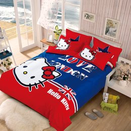 Wholesale Brown Twin Bedding - Wholesale- 3d hello kitty cartoon bedding set duvet cover bed sheet pillow case 4pcs queen double full twin size bed linen set for kids
