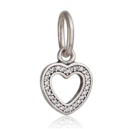 Wholesale hearts symbols - 2017 Summer 925 Sterling Silver Symbol Of Love Heart Dangle Charms With Clear CZ Pave Pendant Fine Jewelry Diy Pandora Bracelets HB477