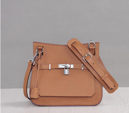 Wholesale Trendy Cross Body Bags - 2016 Trendy Women 100% Genuine Togo Leather Shoulder Bag With Lock Real Cowhide Casual Fashion Messenger Bag