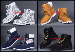 Wholesale Safety Shoes Black - Cheap Tims Outdoor Boots For Men Gold Chain Working Shoes Winter Dollar Flats Snow Warm Shoes Casual Camo Solid Sneakers