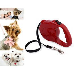 Wholesale Cat Training Collars - 5m Retractable Pet Leash Lead One-handed Lock Training Lead Puppy Walking nylon Leash Adjustable Dog Collar for Dogs Cats