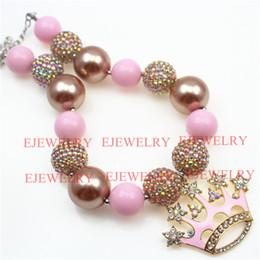 Wholesale Silver Chunky Beads - Alloy Pink Crown Acrylic beads Gold AB color Rhinestone beads Chunky Kids Necklace girl chunky necklace&Bracelet SetCB803