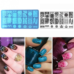 Wholesale Image Stamps - New Nail Art Stamping Stamp Template Image Plates Cool stainless steel Lace floral Nail Stamp Plate Manicure Decoration Pedicure