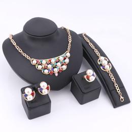 oro etioco Sconti Colore gemma africana etiope nuovo oro placcato collana di cristallo orecchini anello braccialetto set di gioielli da sposa per le donne festa di nozze