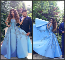 Wholesale Press Sleeves - 2016 African Plus Size Sheer Short Sleeve Blue lace Applique Prom Dresses A Line Sheer Neck Satin Long Evening Presses