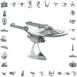 Wholesale 3d Puzzle Building Toy - 3d metal laser cut assembly model 3d metallic nano puzzle toys star wars musical instrument 3d building puzzle Aircraft   45style