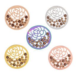 Wholesale Rhinestone Necklace Wholesale K - Hot 33mm Mi Moneda coins gold silver white K gold coin fit for locket pendants necklaces DIY pendant Coin crystal flower pendants