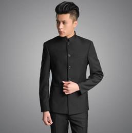 Wholesale Mens Dress Set - Wholesale-Stand collar chinese tunic suit men suit set latest coat pant designs dress suits for men wedding groom mens suits with pants