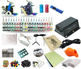 Wholesale Tattoo Equipment Complete Kit - Good Quality Best Price Free Shipping USA Complete Tattoo Kit 2 Machine Set Equipment Power Supply 40 Color Inks TK-44