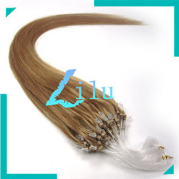 "Wholesale Ash Blonde Hair Extensions - Wholesale-18"" Natural Silky Straight Micro Loop Ring Beads Hair Extensions #16 ash blonde,100s"